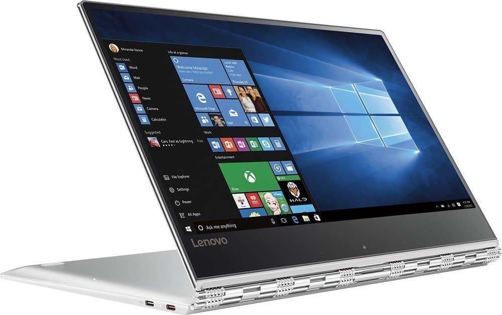 Lenovo Yoga 910 80VF002JUS laptop (7th Gen i7-7500U, 8GB, 256GB SSD, Windows 10 Home), 13.9 pulgadas, color plateado.