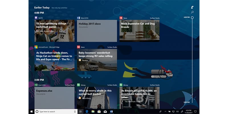 Windows Timeline Continues Testing