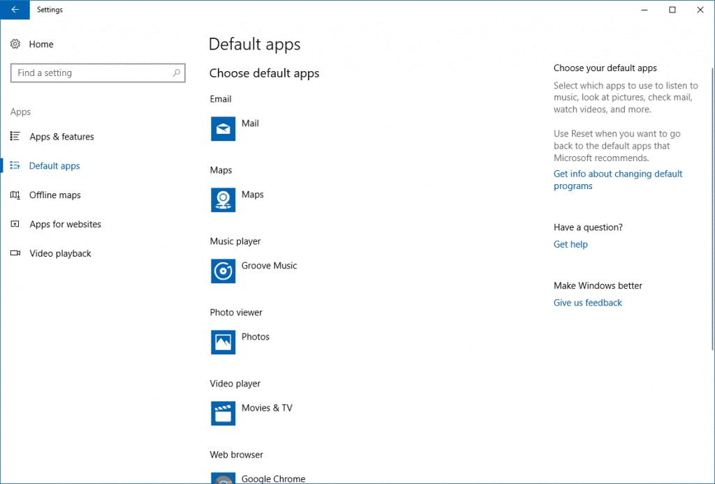 Default Apps in Windows 10